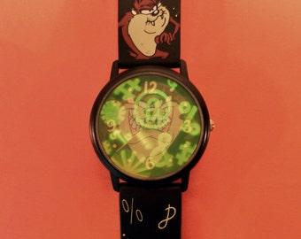 Vintage 1994 Unique 3D Hologram Taz - Tazmanian Devil  Watch - Fantasma WB Looney Tunes Collectors Watch. Quartz Mvt. New Battery Runs