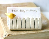 Little Bird On a White Picket Fence - Ceramic Business Card Holder - Light Yellow - Ready to Ship