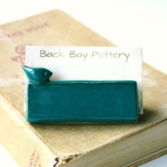Blue Bird Business Card Holder - Dark Teal - French Country - Ready to Ship