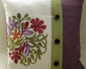 Accent EMBROIDERED FLOWERS & LEAVES cushion cover in purples and Olive panelled patchwork Square Cushion Cover / Pillow Sham