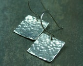 Hammered silver square earrings - contemporary silver earrings