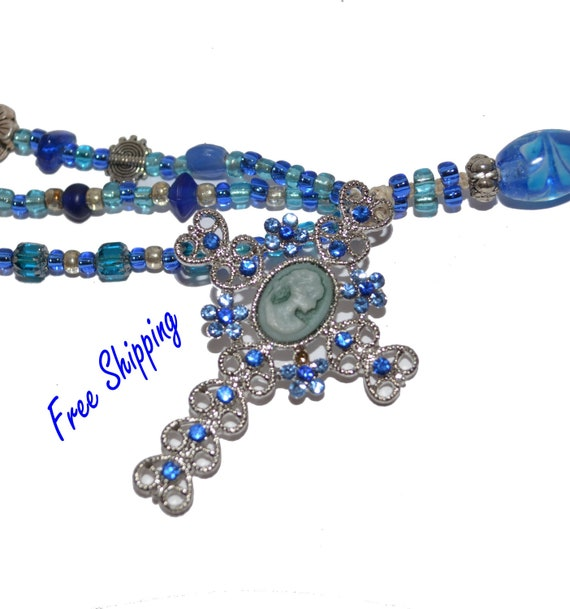 FREE Shipping CROSS OOAK Silver Filagree and Blue Swavroski Crystal Cameo Exquisite