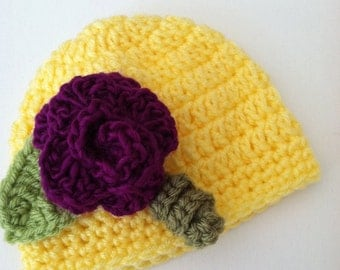 Crochet Baby Hat with Flower, Crochet Baby Hat, Newborn Hat, Baby Hat, Bright Yellow Baby Hat, Hat with Flower, Baby Girl Hat