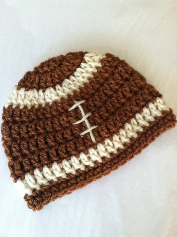 Crochet Baby Hat, Football Baby Hat, Newborn Hat, Newborn Baby Hat, Fall Football Infant Hat, Chocolate Hat, Baby Boy Hat