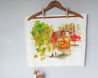 Calipso Band Vintage Art on Canvas Signed and Dated Latino Seniorita Fiesta Barry Ross