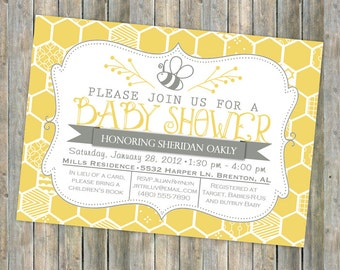 bee baby shower invitation, bee and honey comb, typography shower invitation, digital, printable file