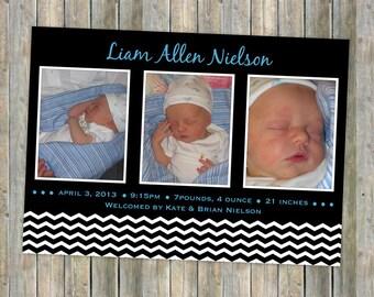 Baby girl or baby boy photo birth announcement, digital file