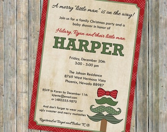 mustache tree christmas baby shower invitations, baby  shower invitation with mustache christmas tree, Digital, Printable file