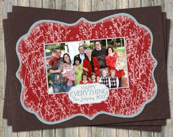 Family holiday photo card, happy everything, christmas card, digital, printable file