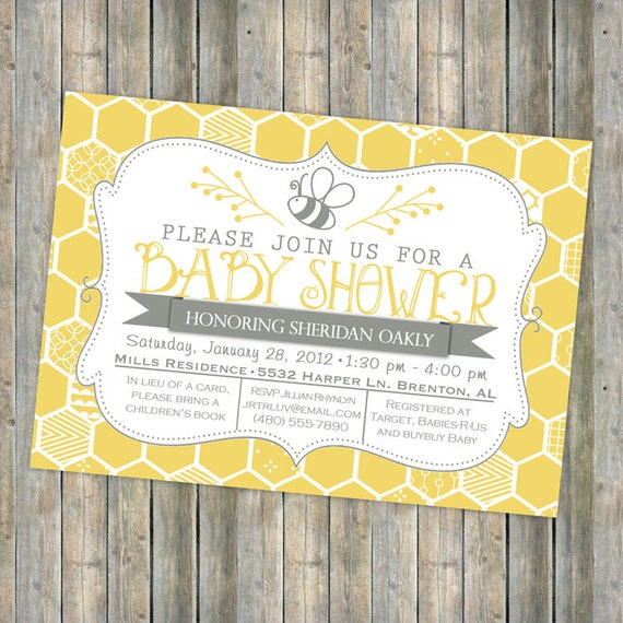 bee baby shower invitation bee and honey comb typography, Baby shower invitations