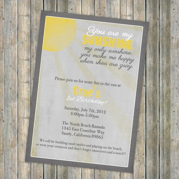 My Sunshine birthday invitation, Vintage Sun with gray skies , gender neutral, printable, digital file