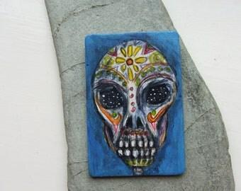 Small Original Painting on Wood,Small Acrylic Painting,Day of the Dead, Skull Art, Samhain Art, Pagan Art, Samhain Decor, Halloween