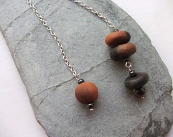 Ceramic Handmade Smoke Fired Bead and Hematite Pendulum - Dowsing Divination - Elements