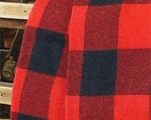Buffalo Plaid Wool Blanket Throw Red & Black - Treasury Item - Reserved for hamblypants