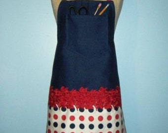 Beautiful Blue and Red Embroidered Canvas Apron