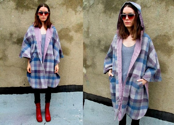 70's Purple Blue Checkered Flannel Reversible Hooded Cape Poncho Coat