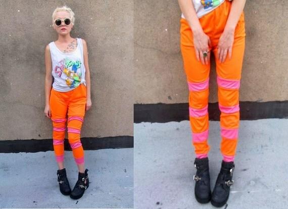 Neon Pink Orange Striped Funky Costume Leggings Pants