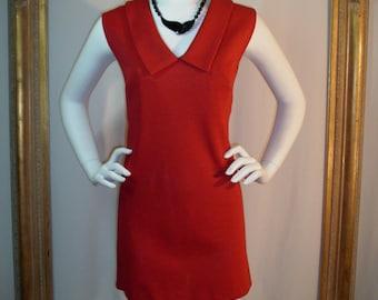 Vintage 1970's Red Wool Mini Sleeveless Dress - Size 6