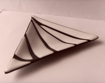 Black and White Triangular Glass Sweet Dish