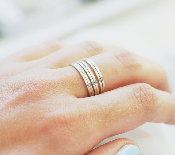 6 Smooth Stackable Silver Rings