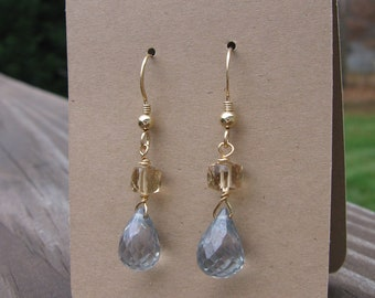 Blue Mystic Quartz Teardrops and Champagne Cube Quartz Gold Earrings
