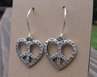 Peace Sign Heart Earrings Silver