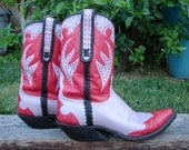 Custom handmade red & lilac roo cowboy/western boots Mens US size 10 hot pink stitching w/ black lacing