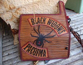 Black Widows of Pacoima w/woodgrain heavily hand-carved custom leather wallet