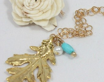 Leaf Necklace- Real Leaf Necklace- Long Necklace- Layered Necklace- Charm Leaf Necklace- Gold Hand Made Leaf- Gold Necklace- Leaf Jewelry