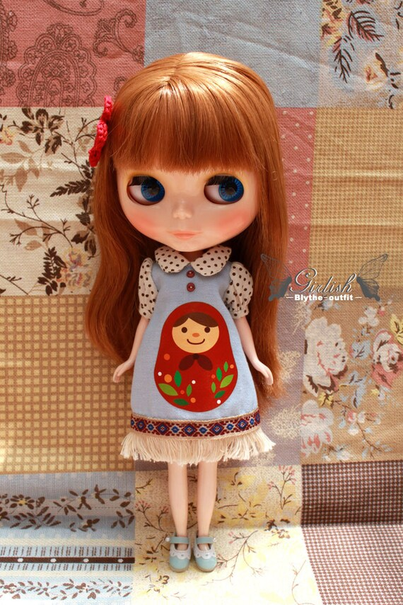 Girlish Matryoshka Russian Doll Dress for Blythe doll - Blythe outfit - Brown Dotties
