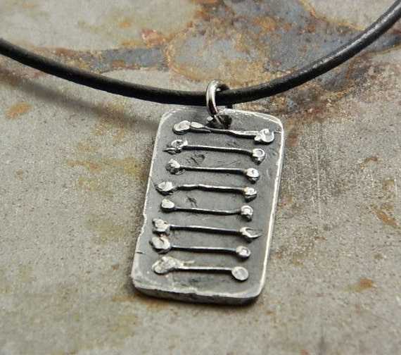 Stairway to Heaven rustic Industrial  Fine Silver Necklace Jewelry for Men or Women