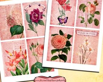 Digital collage sheet VINTAGE DICTIONARY FLOWER  vintage designs, supplies for scrapbooking collage digital download