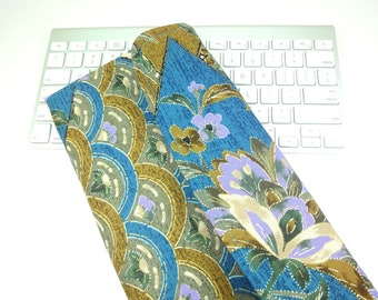 Apple Wireless Keyboard Sleeve Case Cover Padded Flap Closure Kimono pattern fabric flowers