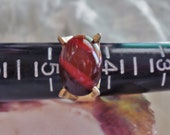 Sarah Coventry - Deep Red and Gold Tone Engagement Ring - Size 4.5