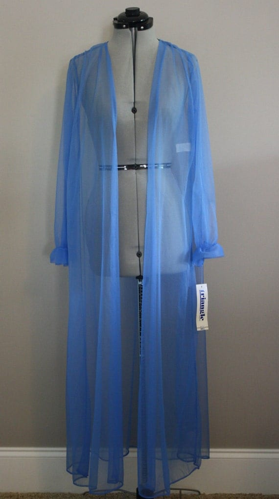 Blue Dressing Gown, Small Sheer Nylon Robe Small