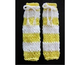 Baby Leg Warmers in Yellow & White Stripes