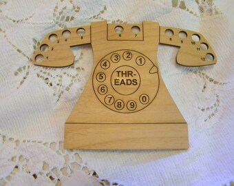 Telephone wooden thread organizer laser cut original design can be personalized