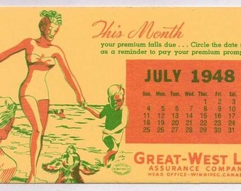 Bathing Beauty Great West Life Assurance Co advertising blotter July 1948 mint