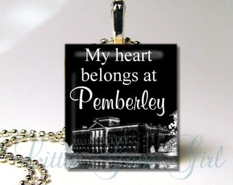 Mr Darcy Pendant - Pride and Prejudice Necklace Charm - My Heart Belongs at Pemberley - 2 Styles -  Jane Austen Book Quote Scrabble Tile
