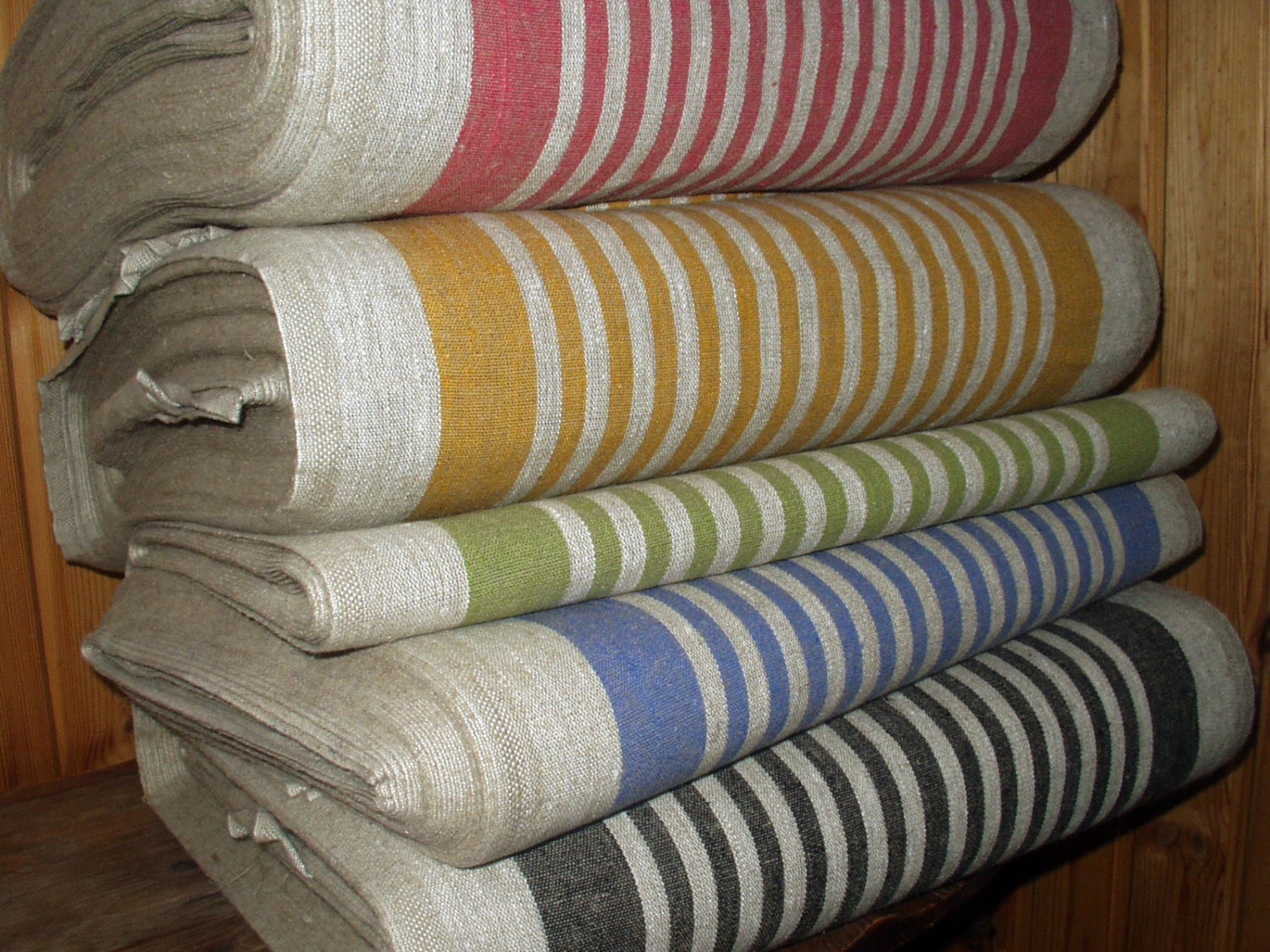 French Canvas Pure Linen Fabric Strips Upholstery By