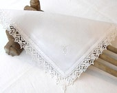 French Vintage White Handkerchief, Vintage Monogrammed Cotton Lace edged Handkerchief, Handkerchief, Wedding Accessory - VictoriasAttick