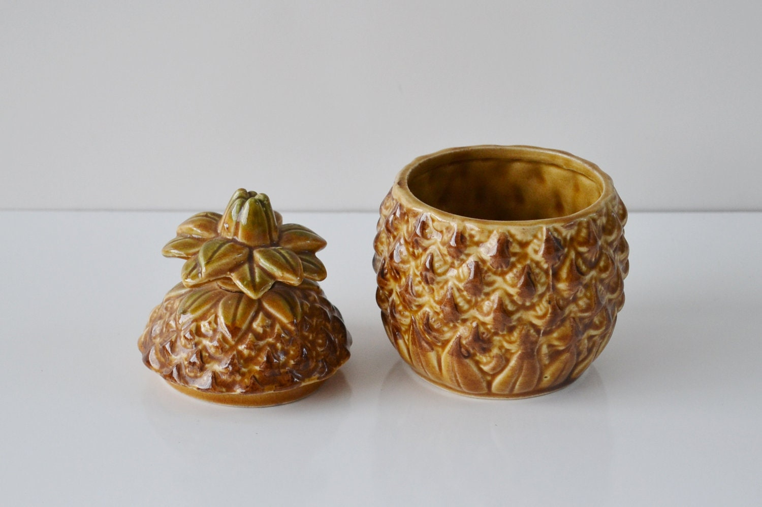 Reserved For Courtney Vintage Ceramic Pineapple Bowl With Lid