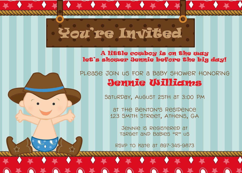 cute cowboy baby shower invitation or birthday invitation
