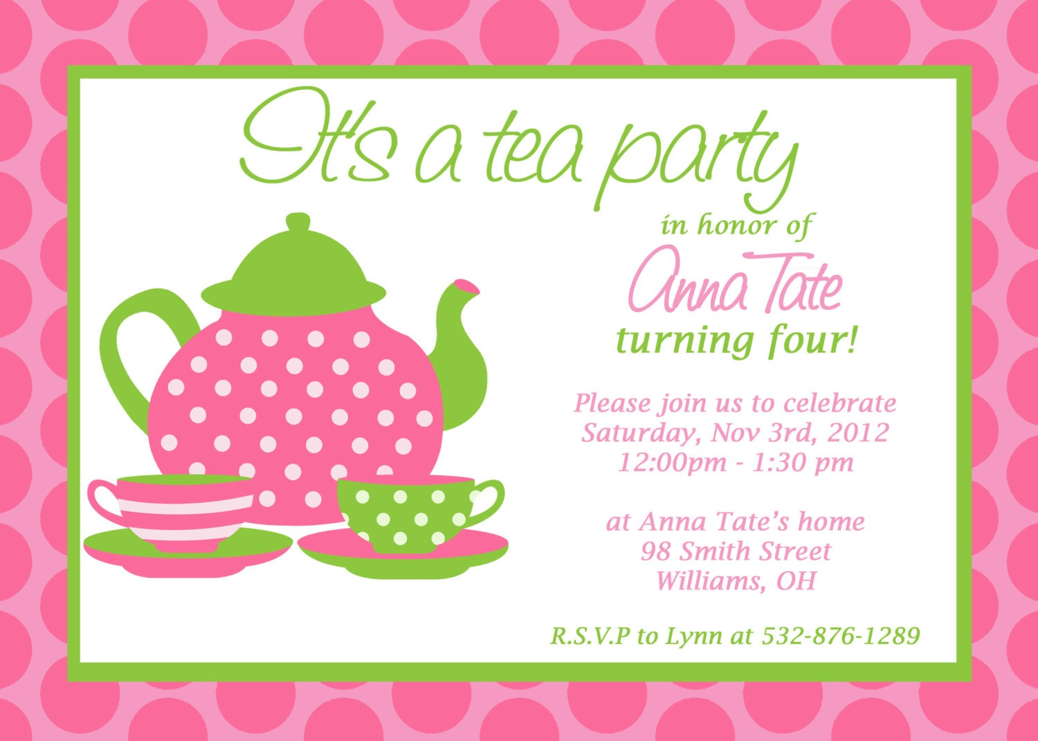 Custom Printable Tea Party Invitation – Invitation to Tea Party