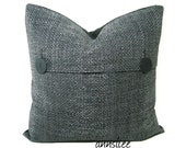 "DECORATIVE PILLOW COVER - 20"" X 20"" In Steel Gray Weave - One of A Kind"