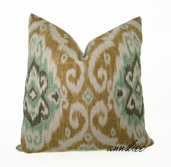 """IKAT OPAL PILLOW Cover - 24"""" X 24,"""" Iman Fabric Collection"""
