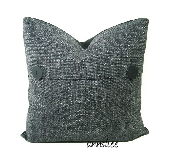 """DECORATIVE PILLOW COVER - 20"""" X 20"""" In Steel Gray Weave - One of A Kind"""