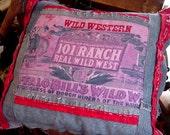 Western Cowboy Pillow, Buffalo Bill Cody 101 Ranch Wild West Home Decor Denim Pillow, Original OOAK itsyourcountry