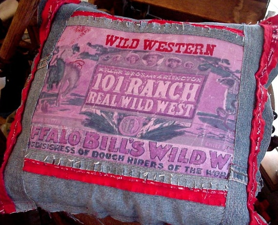 Western Cowboy Pillow Buffalo Bill Cody 101 Ranch Wild West Home Decor Pillow Original OOAK itsyourcountry