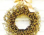 Summer Door Wreath-Summer Wedding-Fall Wreath-YELLOW BERRY Wreath-Housewarming Gift-Rustic Country Home Decor-Gift for Mom-Wedding Gift